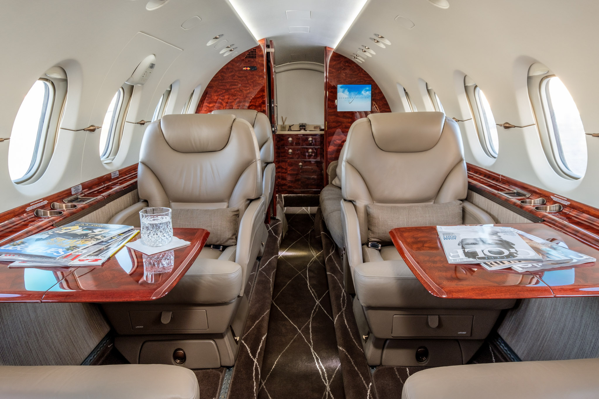 Private charter plane interior with entertainment
