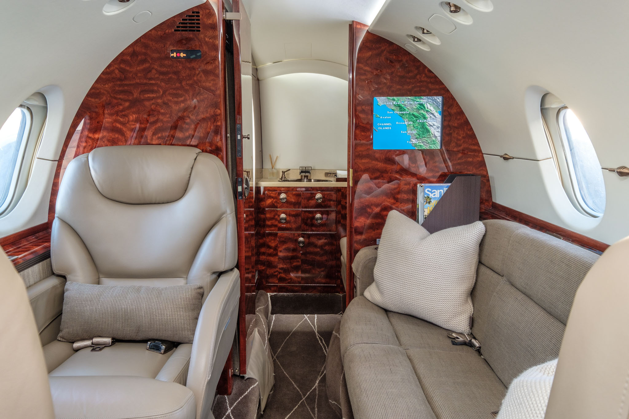 Schubach private charter plane interior